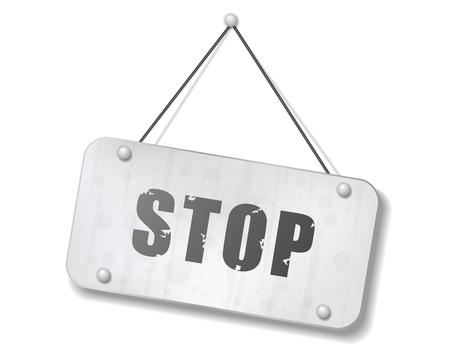 Vintage old chrome sign with Stop text, Vector Illustration Ilustração