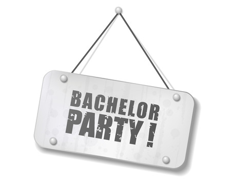 bachelor: Vintage old chrome sign with Bachelor party text, Vector Illustration