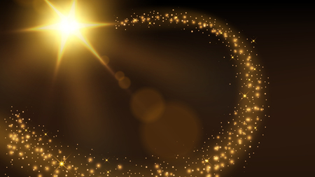 Golden particle trail background