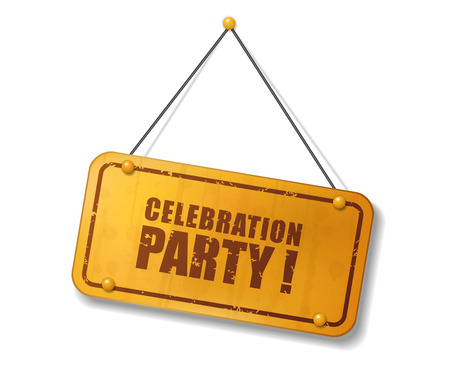 Signo de oro viejo vintage con el texto de la fiesta de celebración, ilustración vectorial Ilustración de vector