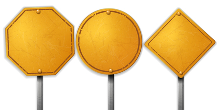 Vintage rough yellow street sign sets Vector Illustration