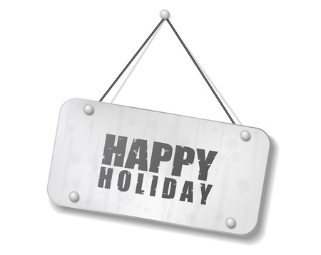 synopsis: Vintage old chrome sign with Happy Holiday text, Vector Illustration
