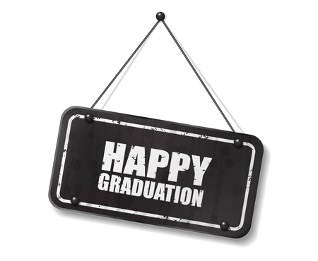Vintage old black sign with Happy Graduation text, Vector Illustration