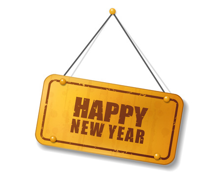 compendium: Vintage old gold sign with Happy New Year text, Vector Illustration Illustration