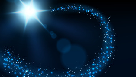 Magic blue glitter sparkles 16:9 Aspect Ratio, Vector Illustration Illustration