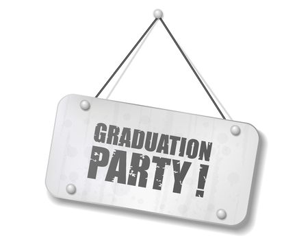 Vintage old chrome sign with Graduation party text, Vector Illustration