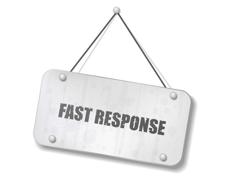 response: Vintage old chrome sign with Fast Response text, Vector Illustration