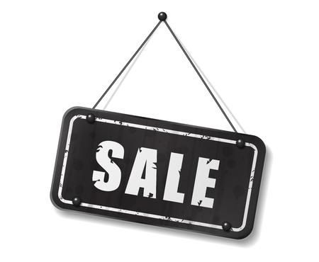 Vintage old black sign with Sale text, Vector Illustration