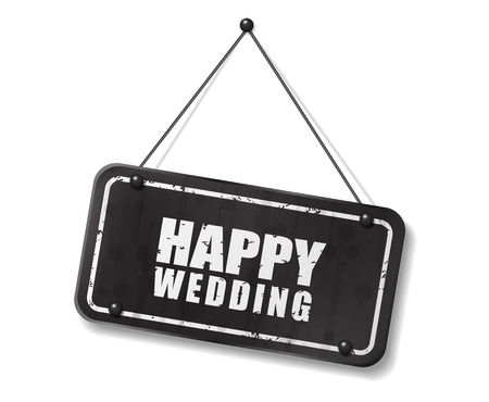 Vintage old black sign with Happy Wedding text, Vector Illustration