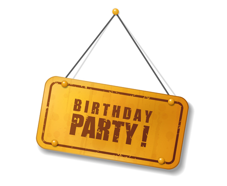 compendium: Vintage old gold sign with Birthday party text, Vector Illustration