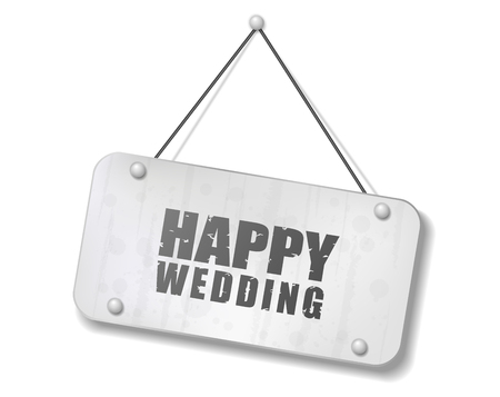 synopsis: Vintage old chrome sign with Happy Wedding text, Vector Illustration
