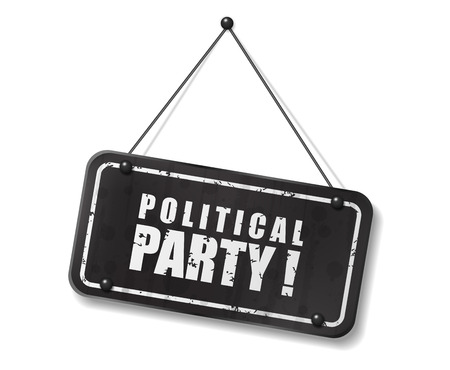 synopsis: Vintage old black sign with Political party text, Vector Illustration