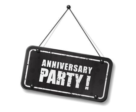 Vintage old black sign with Anniversary party text, Vector Illustration Ilustração Vetorial