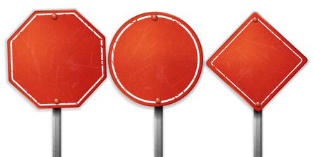 Vintage rough red street sign sets Vector Illustration