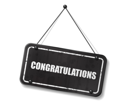 synopsis: Vintage old black sign with Congratulations text, Vector Illustration Illustration