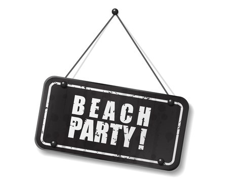 synopsis: Vintage old black sign with Beach party text, Vector Illustration Illustration