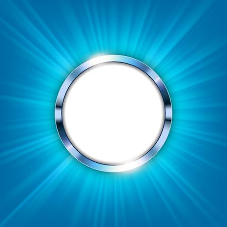 Bague métallique avec espace de texte et lumière bleue illuminée Illustration vectorielle Vecteurs