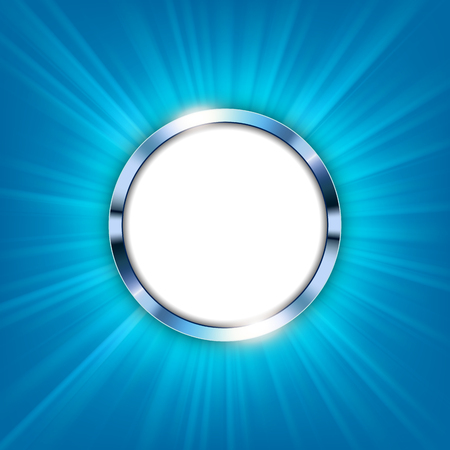 Metallic ring with text space and blue light illuminated Vector Illustration