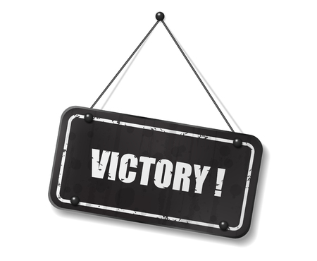 synopsis: Vintage old black sign with Victory text, Vector Illustration