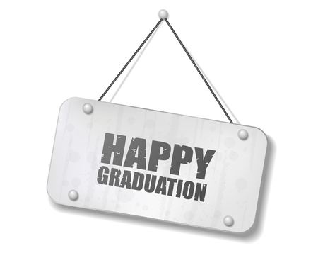 Vintage old chrome sign with Happy Graduation text, Vector Illustration