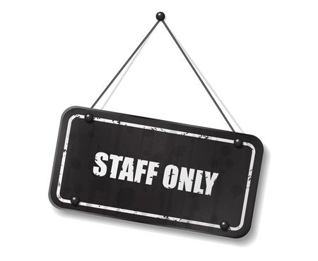 synopsis: Vintage old black sign with Staff Only text, Vector Illustration