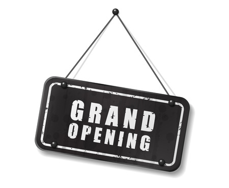 synopsis: Vintage old black sign with Grand Opening text, Vector Illustration