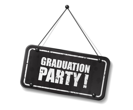 synopsis: Vintage old black sign with Graduation party text, Vector Illustration