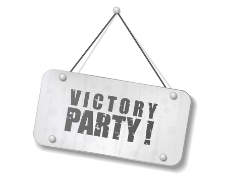 Vintage old chrome sign with Victory Party text