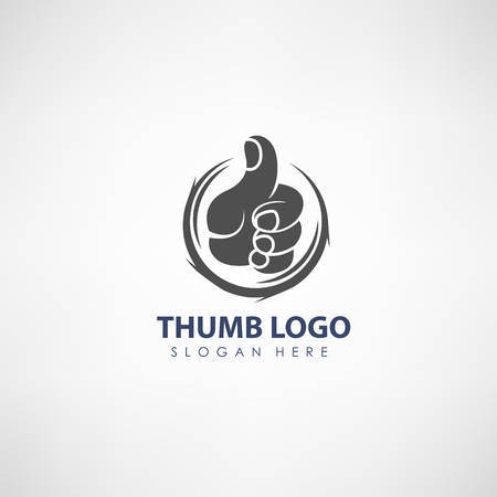 Thumb up concept logo template. Label for voting or organization. Vector illustration