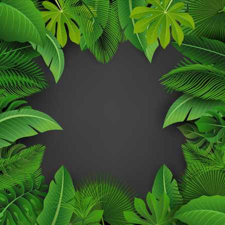 Dark background of Tropical Leaves. Suitable for nature concept, vacation, and summer holiday. Vector Illustration