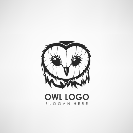 Owl head concept logo template. Label for company or organization. Vector illustration
