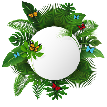 Round sign with text space of Tropical Leaves and butterflies. Suitable for nature concept, vacation, and summer holiday. Vector Illustration