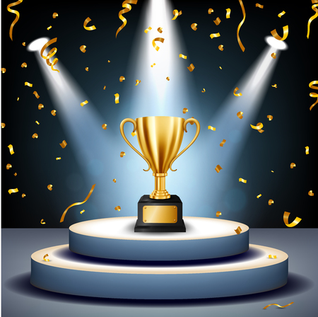 Realistic Golden Trophy on stage with golden confetti falling and illuminated spotlights, Vector Illustration Illustration