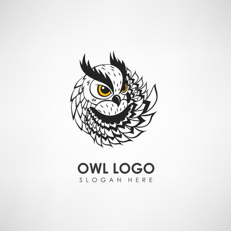 Plantilla del logotipo del concepto del búho. Etiqueta para la empresa u organización. Ilustración del vector Logos