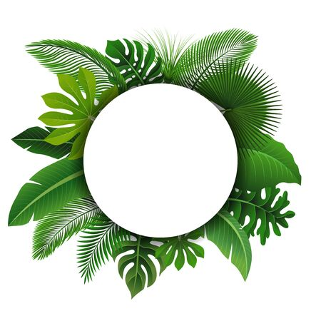 Round Sign with text space of Tropical Leaves. Suitable for nature concept, vacation, and summer holiday