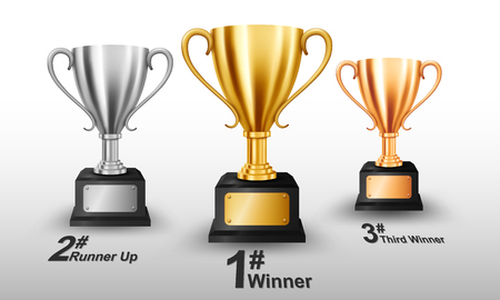 Realistic Gold, Silver, and Bronze Trophy with text space Illustration