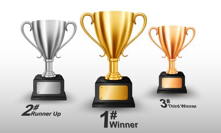 Realistische gouden, zilveren en bronzen trofee met tekstruimte