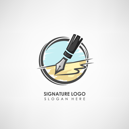 treaty: Signature concept logo template with pen drawing. Label template for signature to the treaty or company symbol. Vector illustration