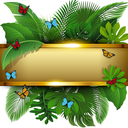 Golden banner with text space of Tropical Leaves and butterflies. Suitable for nature concept, vacation, and summer holiday