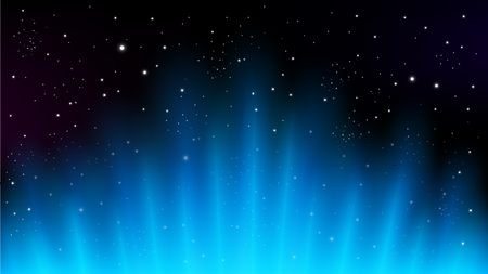 Blue rays rising on dark background, suitable for space concept, and other. Vector Illustration