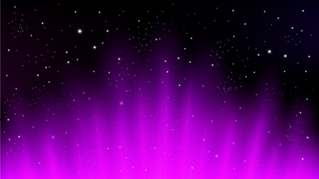 Violet rays rising on dark background, suitable for space concept, and other. Vector Illustration