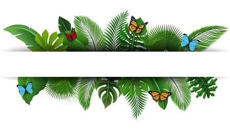 Sign with text space of Tropical Leaves and butterflies. Suitable for nature concept, vacation, and summer holiday. Vector Illustration