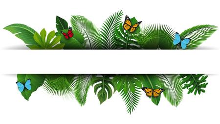 Segno con spazio di testo di Foglie tropicali e farfalle. Adatto a concetti naturali, vacanze e vacanze estive. Illustrazione Vettoriale