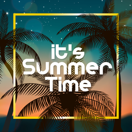 beach sunset: Its Summer Time sign, With coconut trees at evening, suitable for Summer Holiday and Beach Party. Vector Illustration