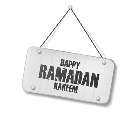 Vintage old chrome sign with Happy Ramadan Kareem text. Vector Illustration