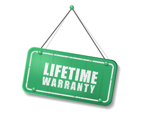Vintage old green sign with Lifetime Warranty text