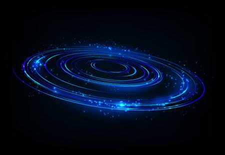 青い回転光の光沢のある輝きと、製品広告、製品設計などに適しています。ベクトル図