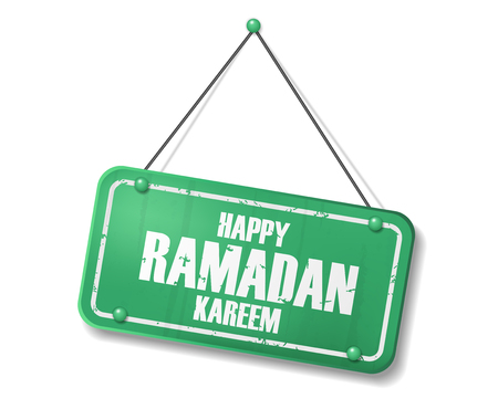 Vintage old green sign with Happy Ramadan Kareem text