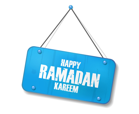 Vintage old blue sign with Happy Ramadan Kareem text. Vector Illustration
