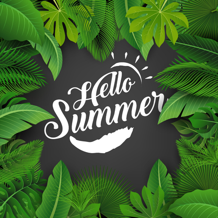 suitable: Hello summer sign with Tropical Leaves. Suitable for Summer concept, vacation, and summer holiday. Vector Illustration